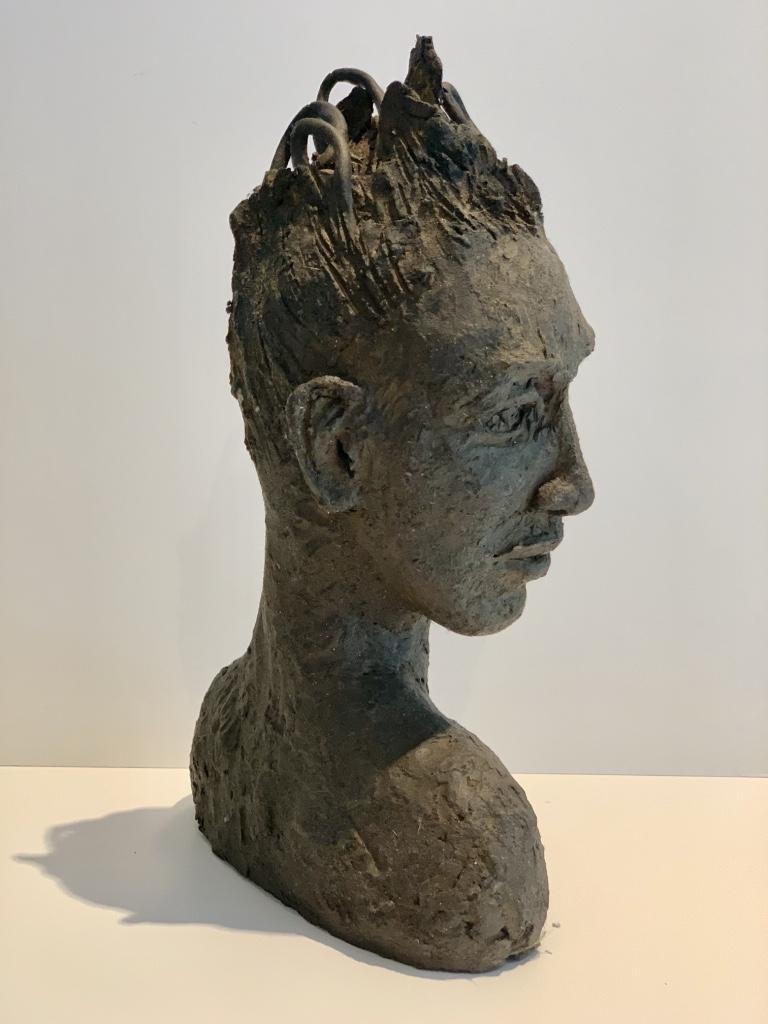 sculpture visage terre cuite patinée