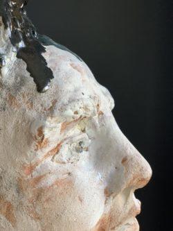 Sculpture visage homme art contemporain taille réelle