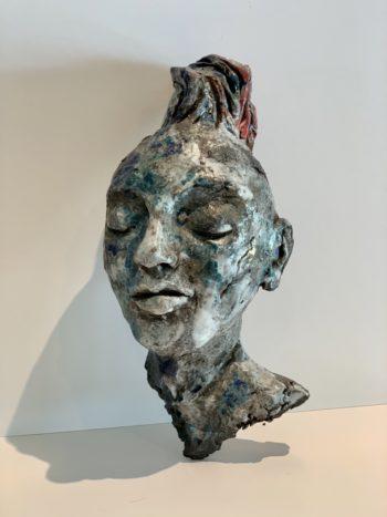 visage androgyne sculpture terre modelage