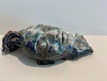 sculpture visage terre et émail pièce unique