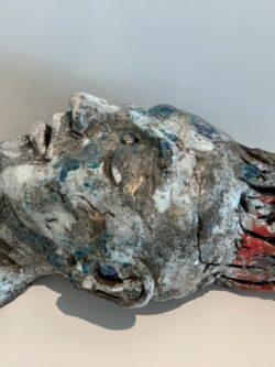 visage statue assoupie céramique pièce unique