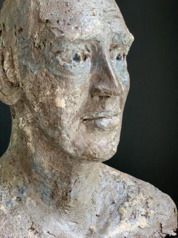 Tête d'homme sculpté - terre cuite - pièce unique
