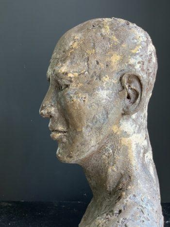 Tête d'homme sculpté - terre cuite - pièce unique - sculpture