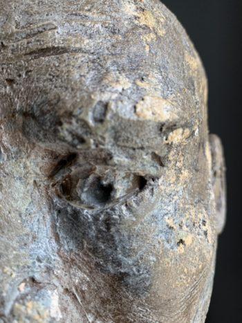 détail oeil tête d'homme sculpture pièce unique