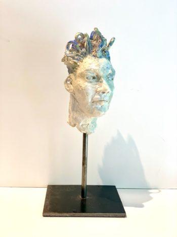 sculpture tête homme androgyne céramique émail