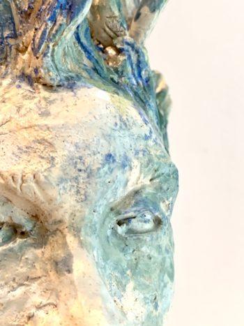 sculpture céramique et matière visage