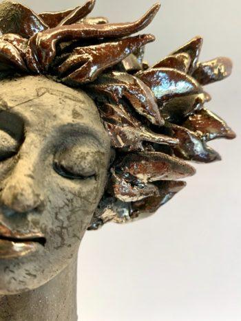 sculpture femme profil raku céramique claymee.com