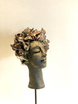 raku sculpture visage portrait femme lyon
